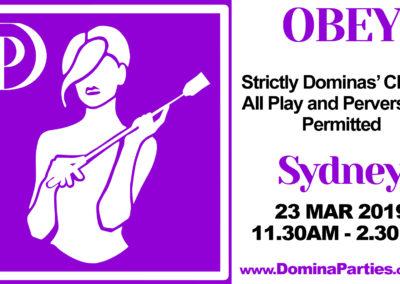 Obey Dominas Choice 11.30am 23 Mar