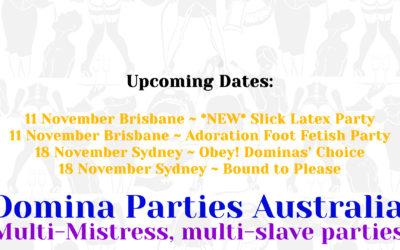 November Domina Parties Dates